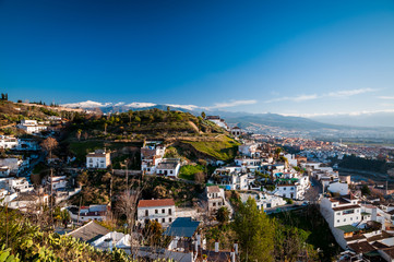 Panoramatic view of typical white development in Granada.