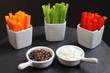 Crudités with two sauces, tzatziki and tapenade