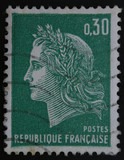 French postage stamp, Marianne de Cheffer green