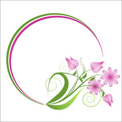 Decorative oval frame for design. Vector illustration.
