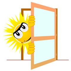 sun open the door art vector illustration