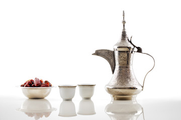 A dallah, a metal pot for making Arabic coffee