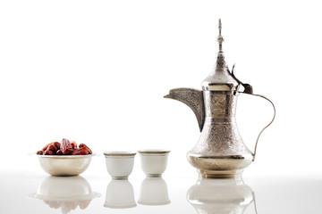 A dallah, a metal pot for making Arabic coffee