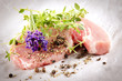raw pork chops with herbs