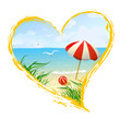 icon in the shape of a heart with beach