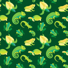 Vector seamless pattern with frogs and reptiles