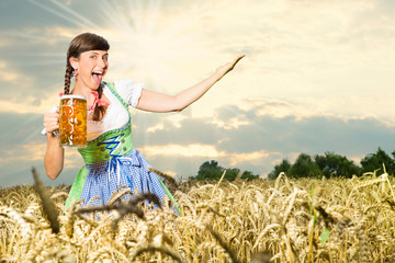 Young woman in Dirndl costume together
