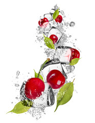 Ice cherries on white background