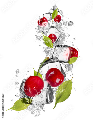Ice cherries on white background