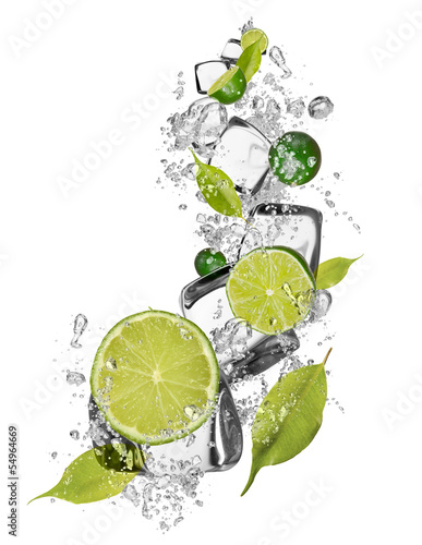 Ice limes on white background