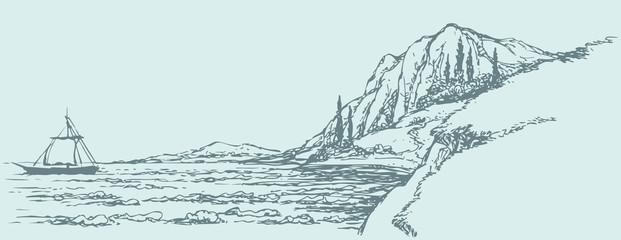 Vector seascape. Sailboat