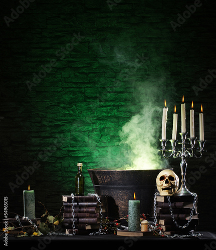 Halloween still-life background with a lot of different elements