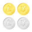 Gold and silver colored coins of a pound and yen currency