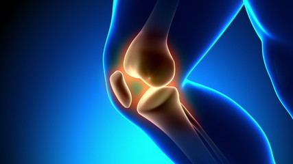 Painful Knee Close-up - Pain on blue background