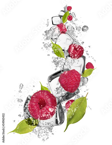 Ice raspberries on white background