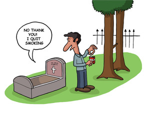 Man quits smoking in tomb