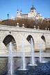 Bridge of Segovia, fountains and Cathedral of Nuestra Senora