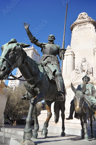 Monument to Don Quixote and Sancho Panza at spring sunny day