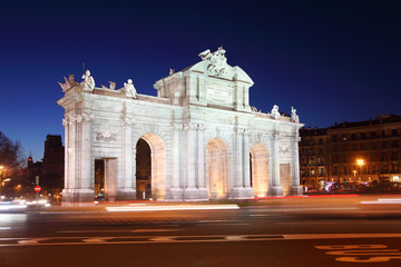 Arch Puerta de Alcala at Independence of Spain square at night