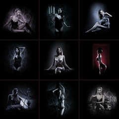 A collage of images with young women posing in erotic lingerie