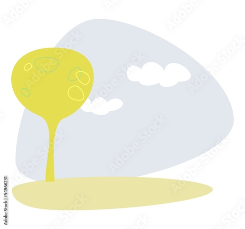 Green tree at blue sky spring or summer day vector landscape