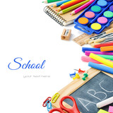 Fototapety Colorful school supplies