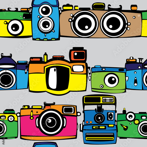 vintage multicolor film photo cameras seamless pattern