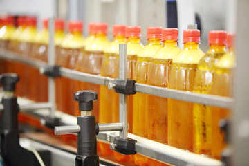 Many yellow plastic bottles with fresh beer go on conveyor