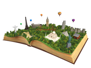 isolated book with world landmarks