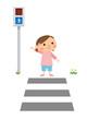 横断歩道を渡る子供