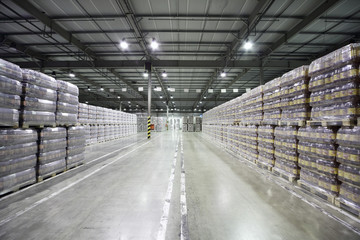 Lot of packaged beer in warehouse in factory