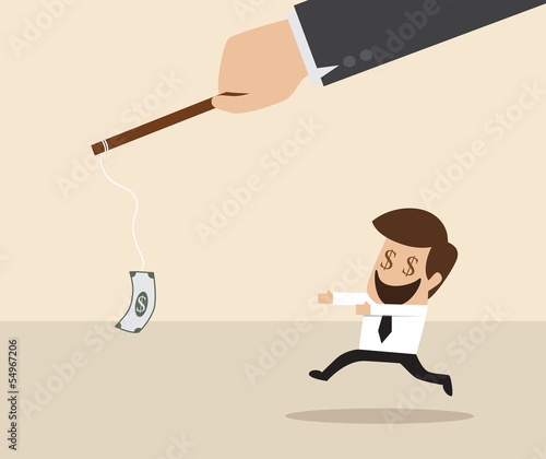 Vector cartoon of Businessman chasing money trap