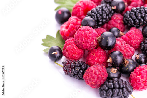 Fresh berries raspberries, blackcurrants