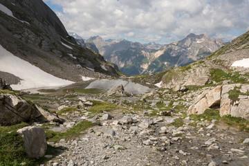 Rochers, neige, vallée et sommet dans les Alpes