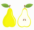 Pear half and whole