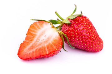 Fresh strawberries isolated on white background.