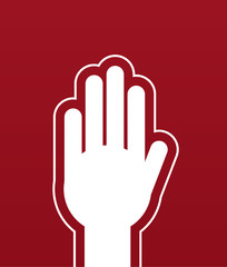 Large hand stop red background
