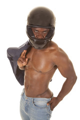 man no shirt hold suitcoat wear helmet