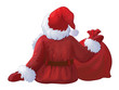 Vector of Santa Claus back  isolated.
