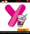 letter y with yogurt cartoon illustration