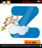 letter z with zeus cartoon illustration