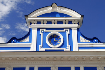 Hours on a facade of theater. Russia. Perm.