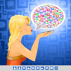 The girl uses social signs in conversation on the smartphone