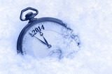 Pocket watch in snow, New Year 2014 greeting card