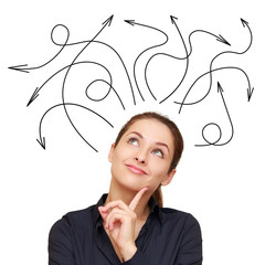 Business woman and many arrows above isolated on white backgroun