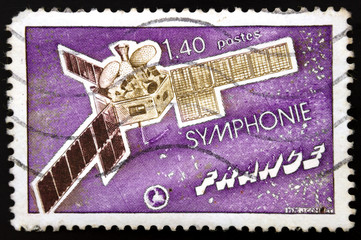 French postage stamp, Communications Satellite Symphonie