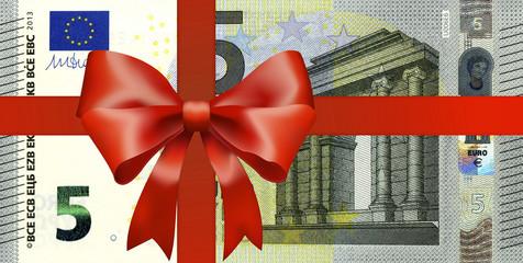 5 Euroschein mit breiten Geschenkband
