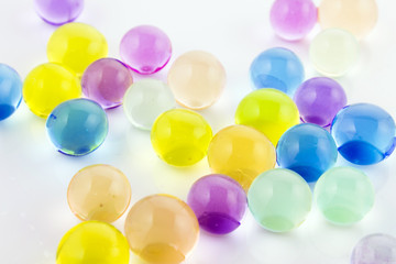 brightly colored glass marbles