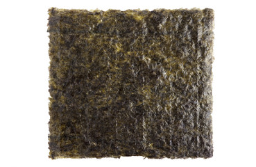 A sheet of dried seaweed close up isolated