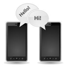 two smartphone icon chat speech bubble